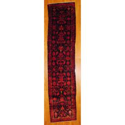 Persian Hand-knotted Hamadan Navy/ Red Wool Rug (3&#39;10 x 16&#39;6)