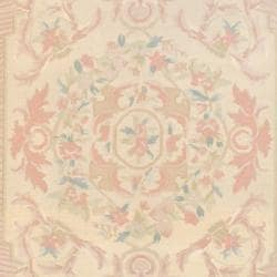 Indo Hand-knotted Kilim Beige/ Peach Wool Rug (6' x 8'10)