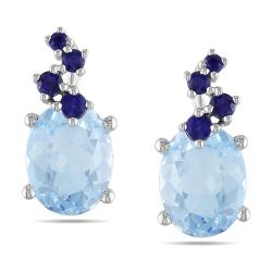 Miadora 10k White Gold 5 1/3ct TGW Sky Blue Topaz and Sapphire Stud Earrings