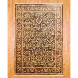 Indo Hand-knotted Mahal Brown/ Rust Wool Rug (6' x 9')