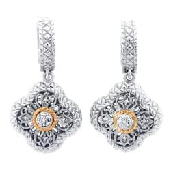 Meredith Leigh 14k Gold and Silver 1/10ct TDW Diamond Earrings (H-I, I2-I3)