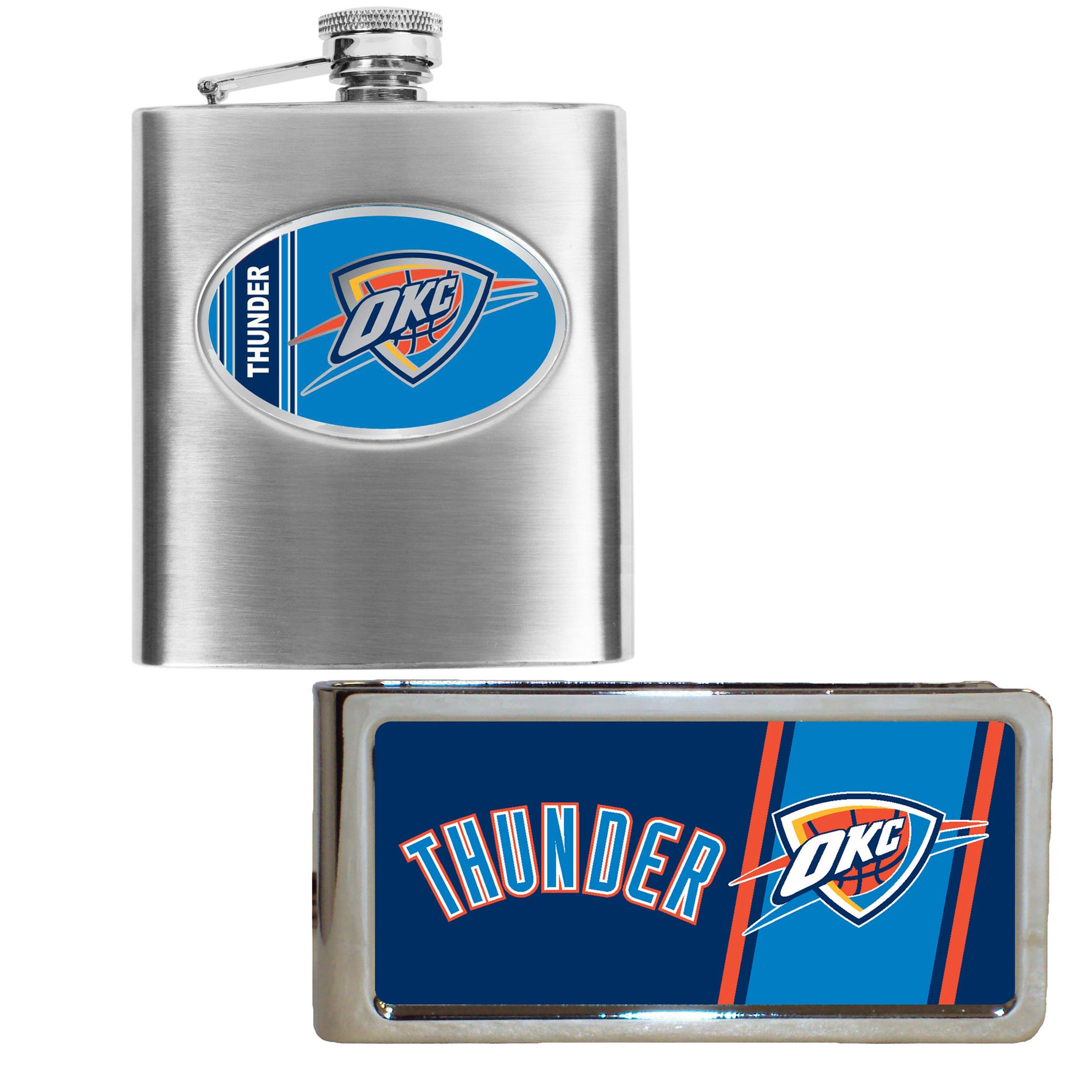 Oklahoma City Thunder Hip Flask and Money Clip Set