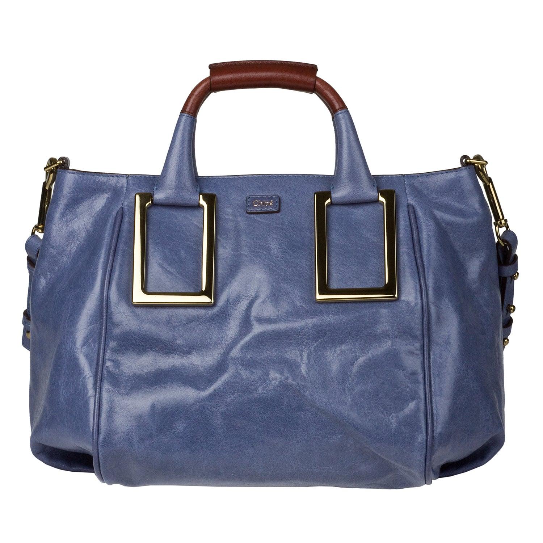 Chloe \u0026#39;Ethel\u0026#39; Blue Leather Satchel - 14202821 - Overstock.com ...