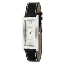 Peugeot Women's Silvertone Black Leather Strap Watch