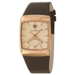 Skagen Men's 'Leather' Stainless Steel Rose Gold Plated Brown Leather Watch