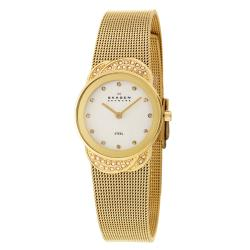 Skagen Women's 'Mesh' Stainless Steel Yellow Gold Plated Crystals Watch