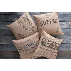 Jute Bags 18-inch Square Decorative Pillows (Set of 4)
