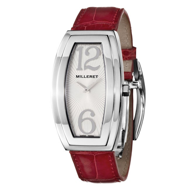 Milleret Women's 'Diva' Stainless Steel Red Leather Watch