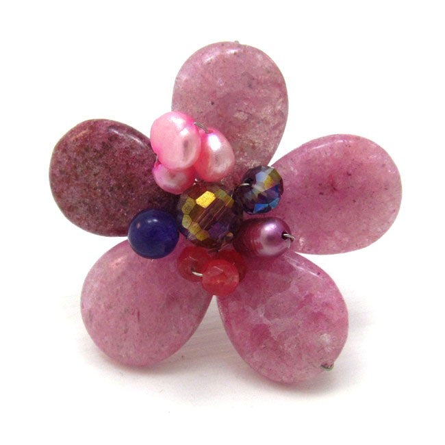 Pink Goldstone Rosy Floral Handmade Free Size Ring (Thailand)
