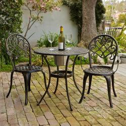 Christopher Knight Home Angeles Cast Aluminum Outdoor Bistro Furniture Set with Ice Bucket