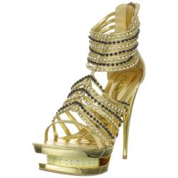 Celeste Women's 'Alude-03' Gold Rhinestone Stiletto Sandals