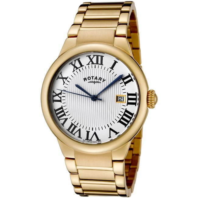 Rotary Men's 'Savannah' Almond Ion-Plated Stainless Steel Watch