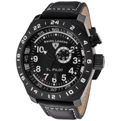 Swiss Legend Men's 'SL Pilot' Black Leather Watch