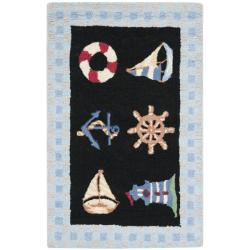 Safavieh Hand-hooked Nautical Black Wool Rug (1'8 x 2'6)