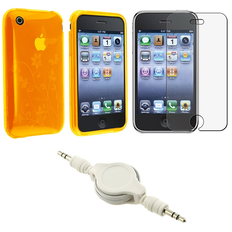 Orange TPU Case/ Screen Protector/ Audio Cable for Apple iPhone 3GS
