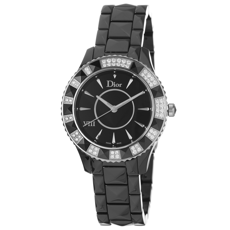 Christian dior women 39 s 39 black eight 39 black ceramic diamond watch 14126951 for Christian dior watches
