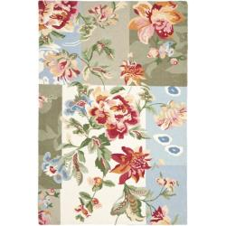 Safavieh Hand-hooked Floral Ivory Wool Rug (3'9 x 5'9)