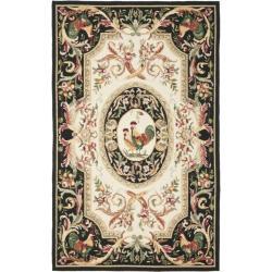 Safavieh Hand-hooked Rooster Ivory/ Black Wool Rug (5'3 x 8'3)