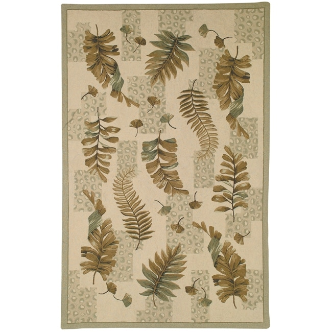 Safavieh Hand-hooked Ferns Ivory/ Green Wool Rug (8'9 x 11'9)