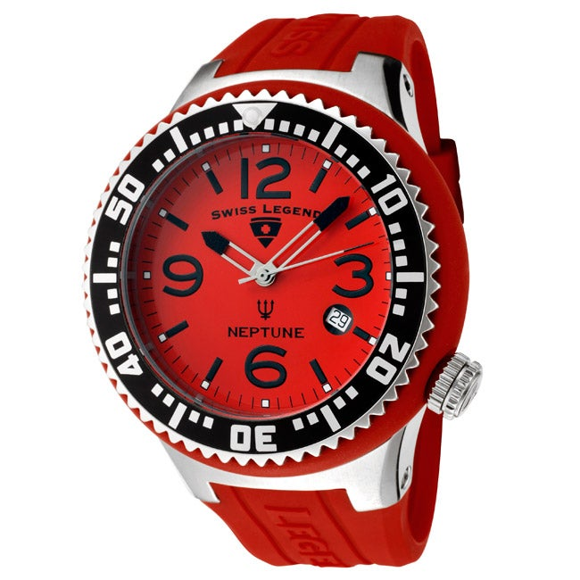 Swiss Legend Men's 'Neptune' Red Silicone Watch