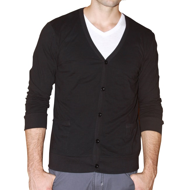 191 Unlimited Men's Black Cardigan Sweater