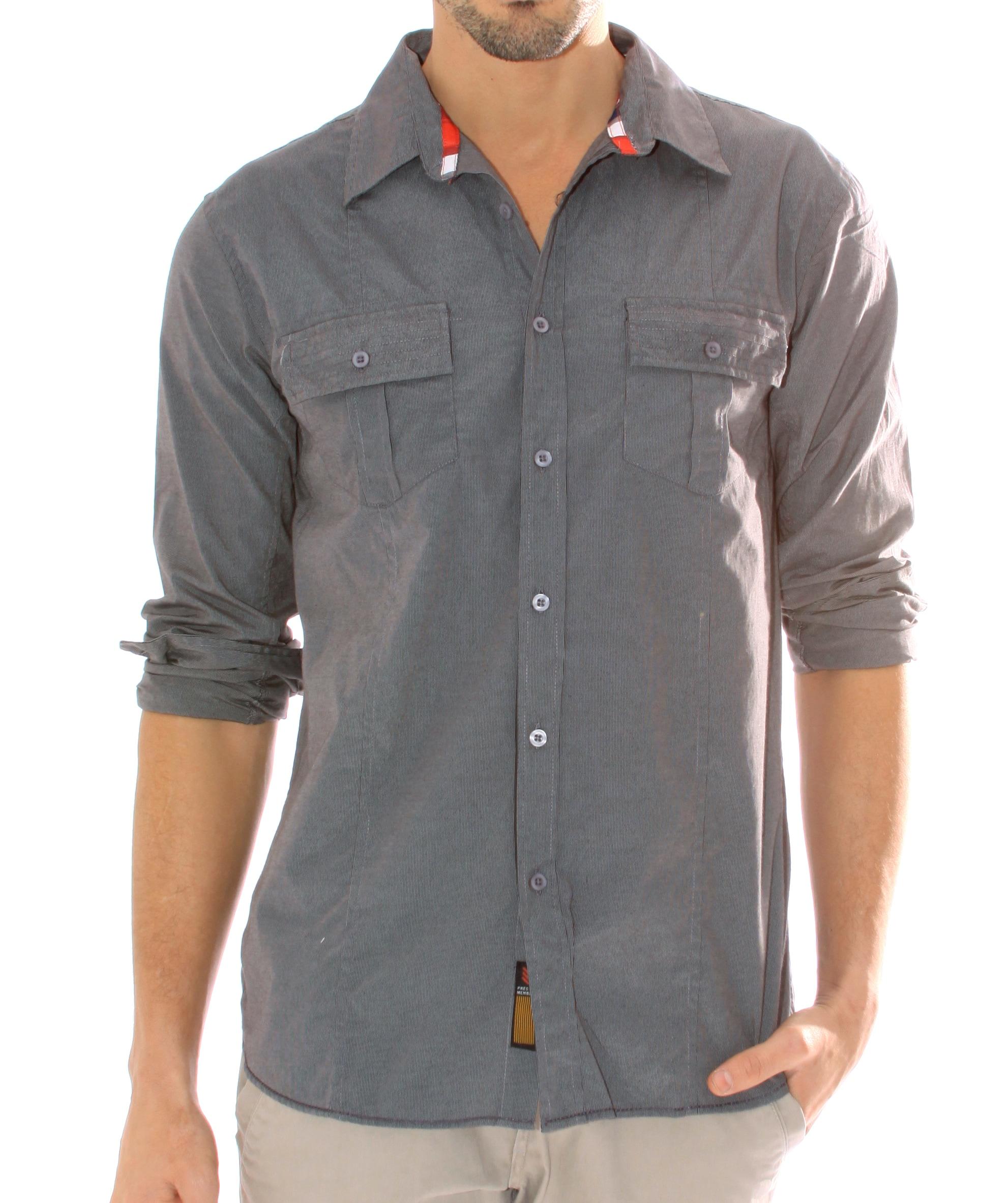 191 Unlimited Men's Dark Grey Stripe Button Front Shirt