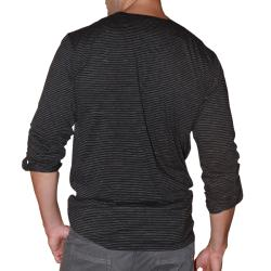 191 Unlimited Men's Black Long-sleeve Notched CrewneckT-shirt