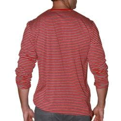 191 Unlimited Men's Red Stripe V-neck Shirt