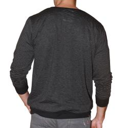 191 Unlimited Men's Black Pinstripe Cardigan Sweater
