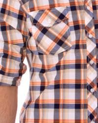 191 Unlimited Men's Orange Plaid Shirt