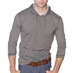 191 Unlimited Men's Brown Striped Pullover Hoodie