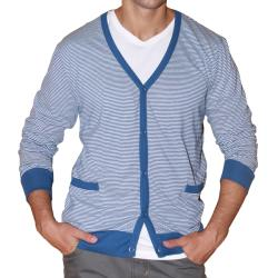 191 Unlimited Men's Blue Stripe Cardigan Sweater