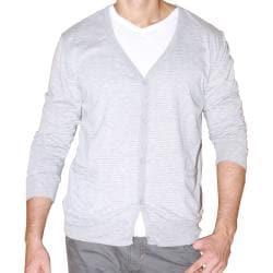 191 Unlimited Men's Grey Stripe Cardigan Sweater