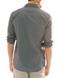 191 Unlimited Men's Dark Grey Stripe Button Front Shirt