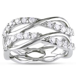 Sterling Silver Cubic Zirconia Criss-cross Ring (1 1/5ct TGW)