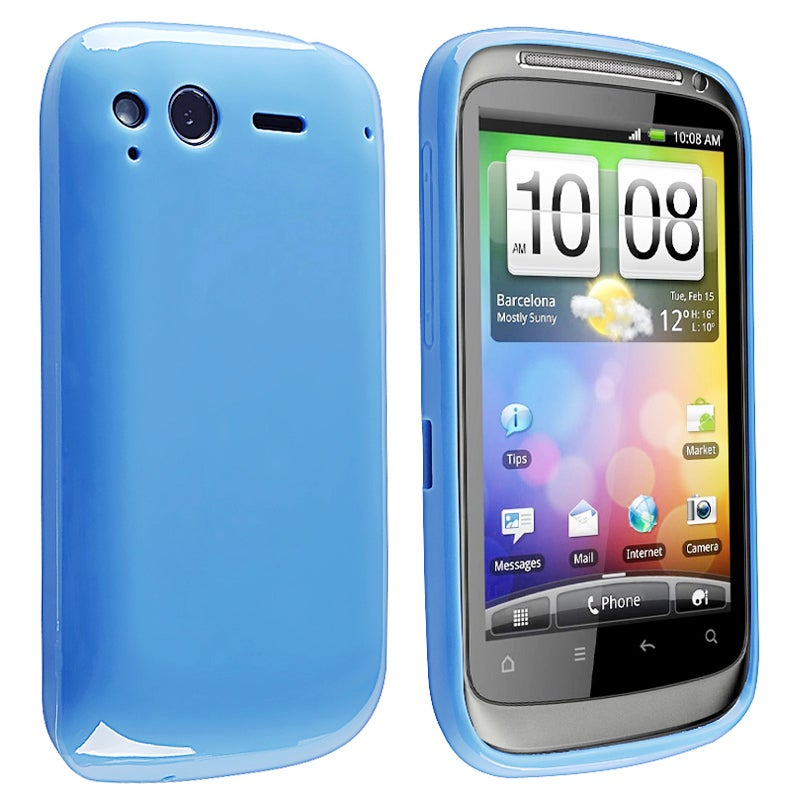 Blue Jelly TPU Rubber Skin Case for HTC Desire S