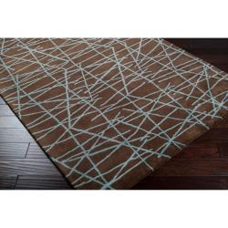 Hand-tufted Contemporary Brown Abstract Bostor New Zealand Wool Abstract Rug (3'3 x 5'3)