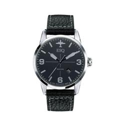 ESQ Men's Swiss Black Leather Strap Watch