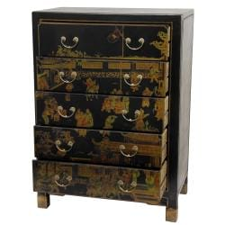 Black Lacquer Village Life Five Drawer Chest (China)