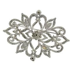 White and Topaz Crystal Brooch
