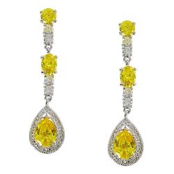 Yellow Jonquil Cubic Zirconia Earrings