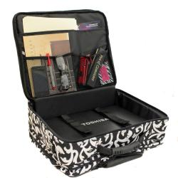 World Traveler Women's Damask Print Rolling Laptop Tote
