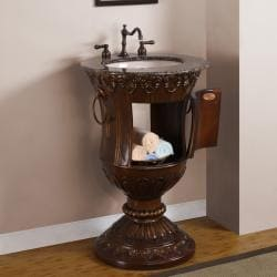 Silkroad Exclusive 23-inch Stone Counter Top Bathroom Vanity Lavatory Single Sink Cabinet