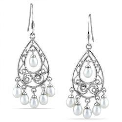 Miadora Sterling Silver Freshwater Pearl Chandelier Earrings (3.5-4 mm)