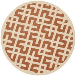 Safavieh Poolside Terracotta/ Bone Indoor Outdoor Rug (6'7 Round)