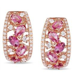 Miadora 18k Pink Gold Plated Silver 3 5/8 CT TGW Multi-Gemstone Earrings