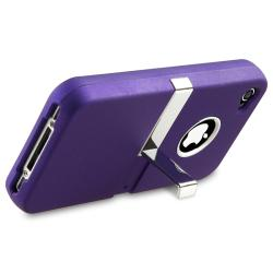 BasAcc Purple/ Chrome Stand Snap-on Case for Apple iPhone 4/ 4S