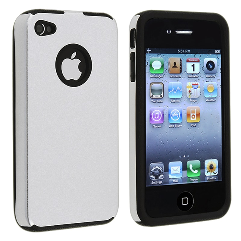 BasAcc Silver Aluminum/ Black Skin Snap-on Case for Apple iPhone 4/ 4S