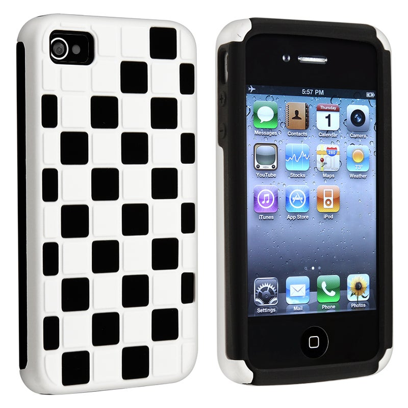 BasAcc Black/ White Checker Hybrid Case for Apple iPhone 4/ 4S