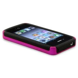 BasAcc Hot Pink/ Black Checker Hybrid Case for Apple iPhone 4/ 4S